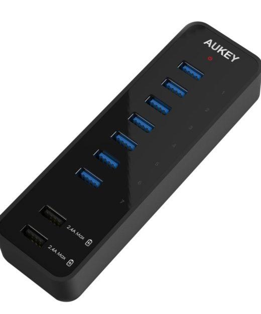 Aukey 7-Port USB 3.0 Hub Test Quick Charge Schnellladefunktion