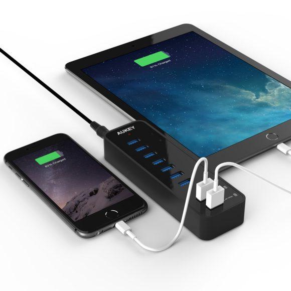 Aukey 7-Port USB 3.0 Hub Test Verteiler Schnellladen