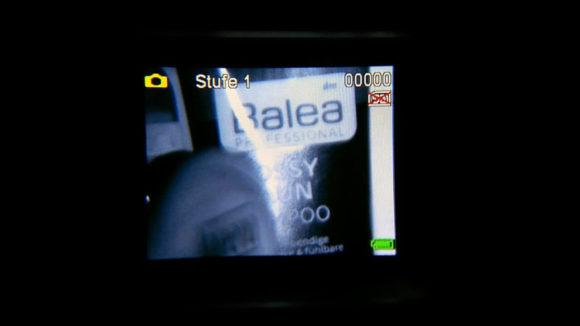 Der erste Nachtsicht-Test im stockfinsteren Badezimmer. Das Ergebnis war erfreulich.