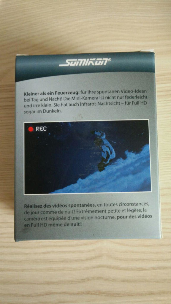 In dieser kleinen Schachtel kommt die AC-1080.ir-Kamera von Somikon.