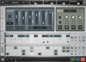 Die Bass- und Beat-Sektion inklusive Sequencer.