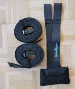 Die Platte und die Seile, die für Sicherheit beim Training sorgen.