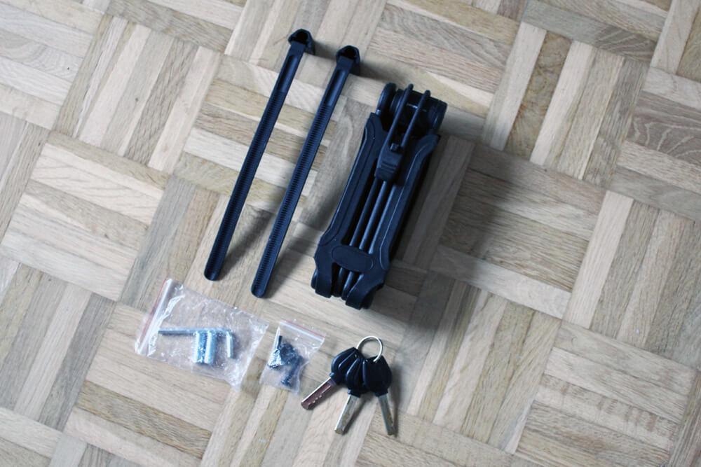 Das gesante Sportastisch Fahrradschloss Fold & Hold Set.