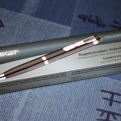 Hier ist der Video-Stift noch verpackt.