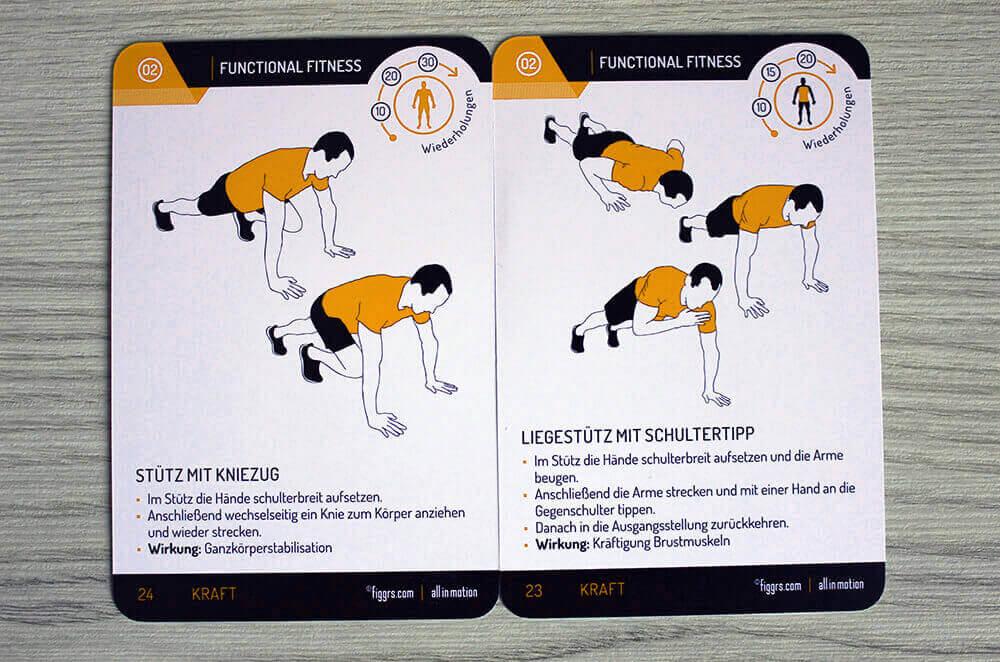 Die figgrs Fitnesskarten beanspruchen den ganzen Körper.