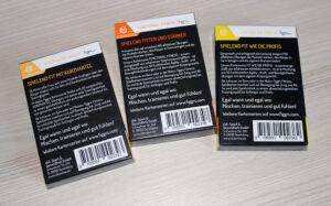 Die Rückseiten der 3 figgrs Kartensets.